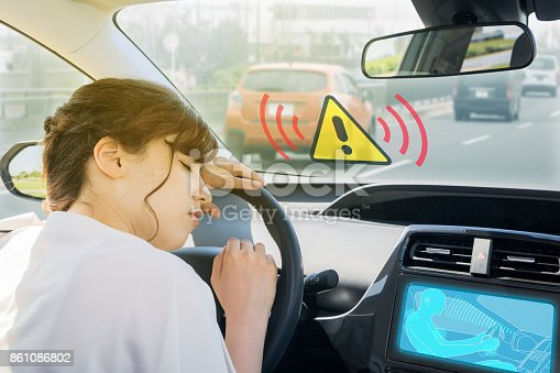 istock doze prevention apparatus. driver assistance system. car interior and driver. 861086802
