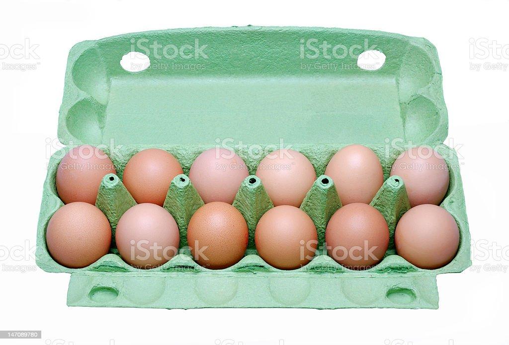 Dozen eggs in a box royalty-free stock photo