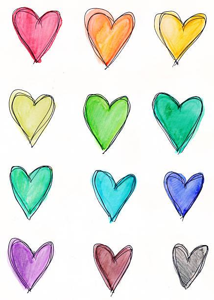 Ein Dutzend hearts in Regenbogen Farben auf weißem Hintergrund – Foto