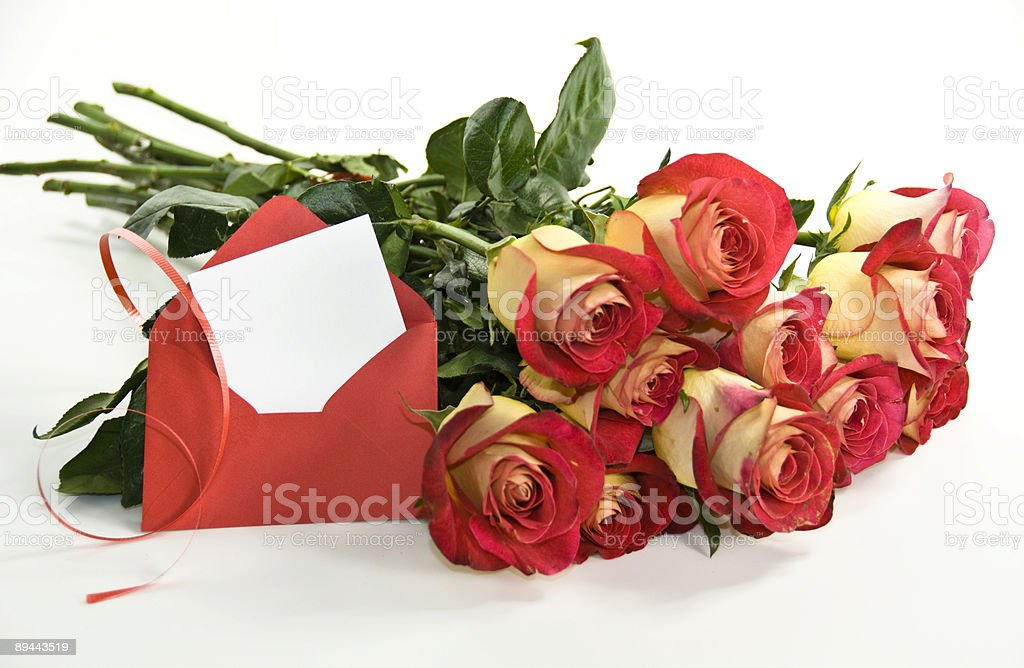 Dozen Red Roses and Card for a Very Special Occasion royalty-free stock photo