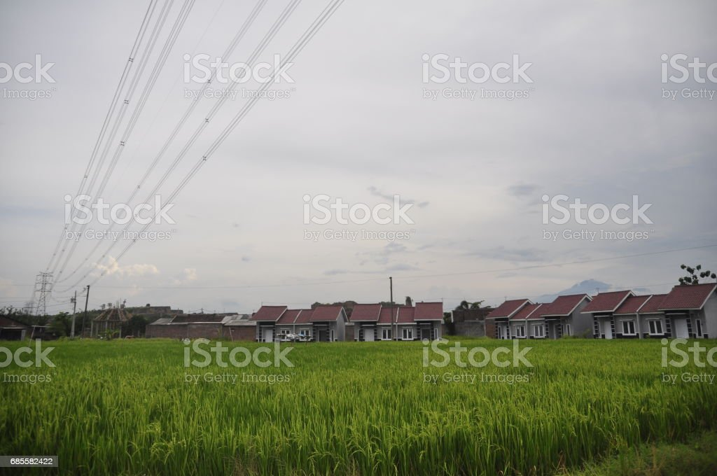 Dozens of houses standing in the area pucangading, demak, central jawa, indonesia foto de stock royalty-free
