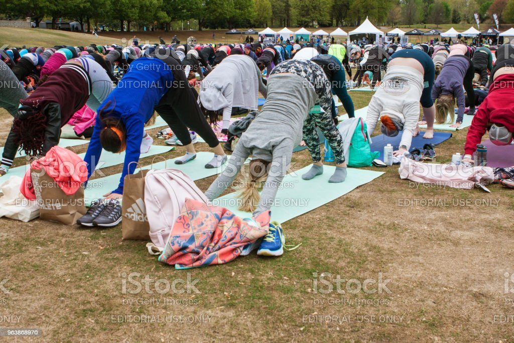 Dozens Of People Do Downward Facing Dog Yoga Pose Outdoors - Royalty-free Adult Stock Photo