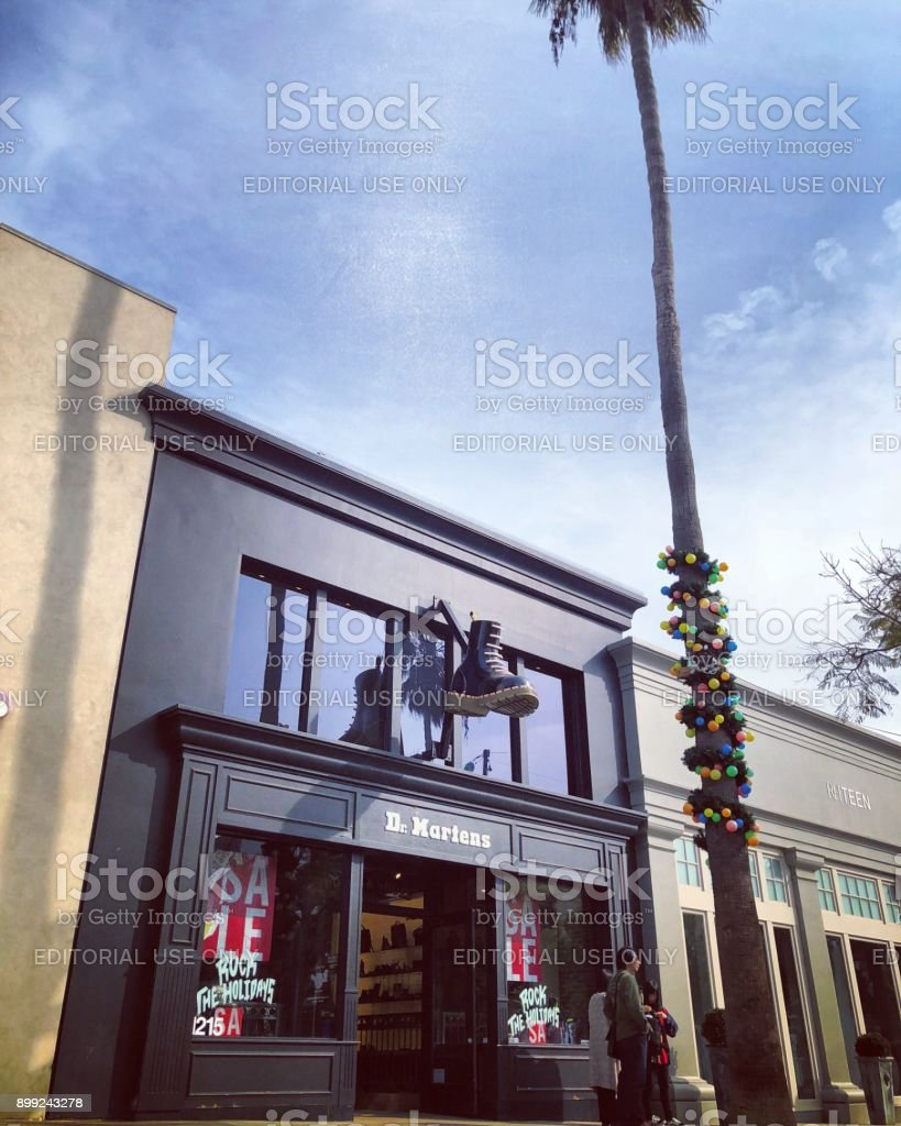 Dr. Martens Store decorated for Xmas, Santa Monica stock photo