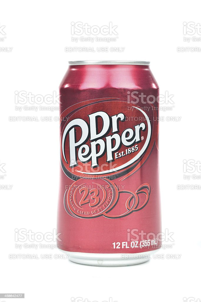 Dr Pepper can isolated on a white background stock photo