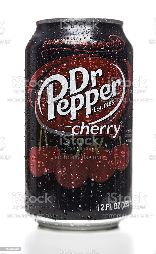 Dr Pepper cherry soda can stock photo