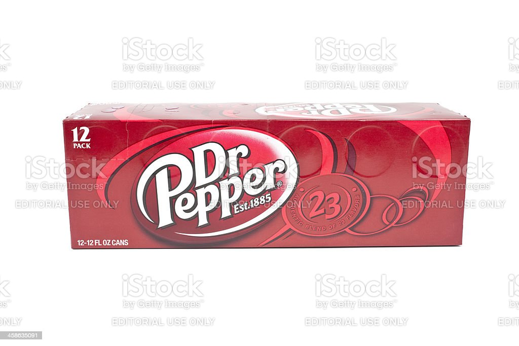 Dr Pepper on an isolated white background stock photo