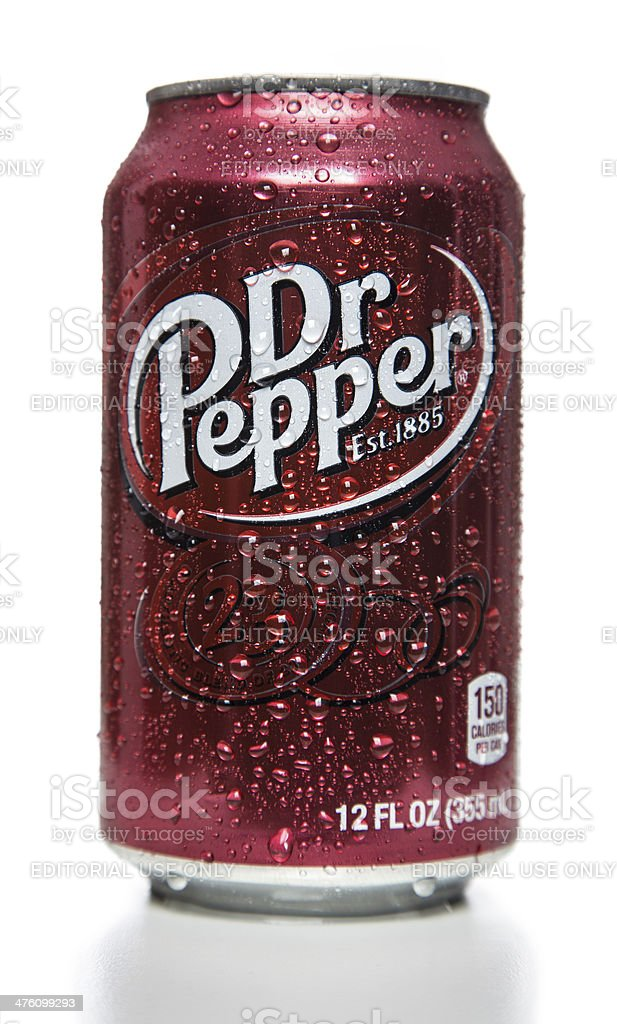 Dr Pepper soda can stock photo