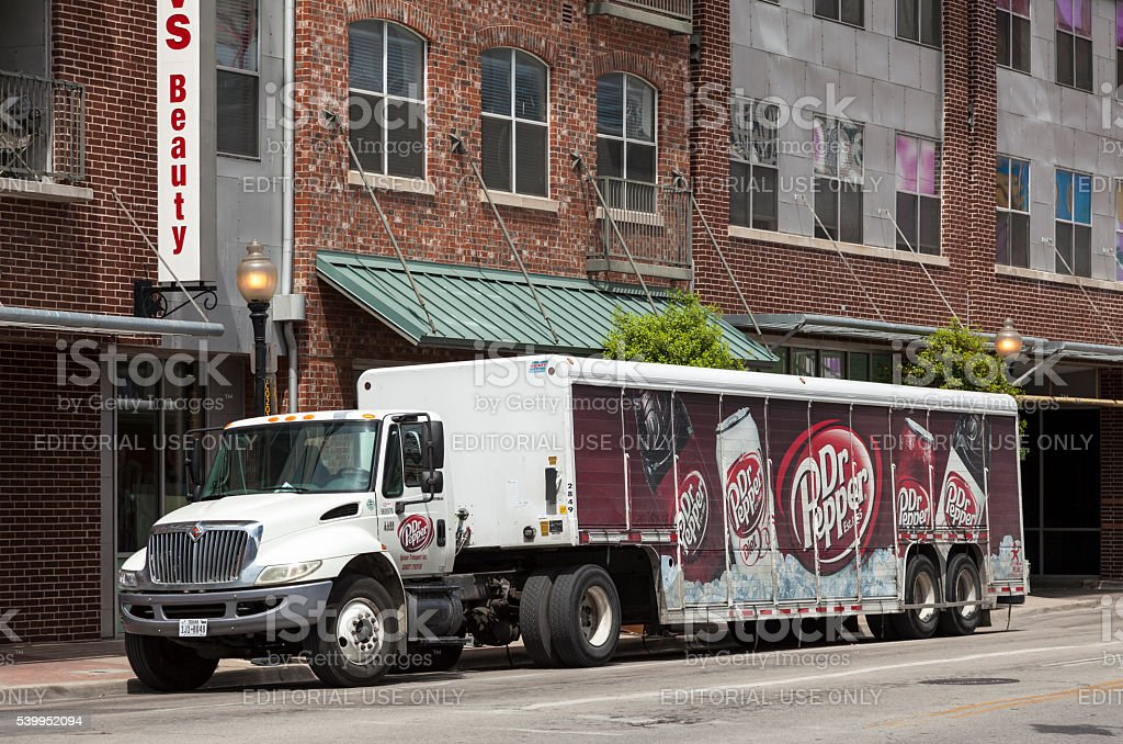 Dr Pepper truck in Dallas downtown stock photo