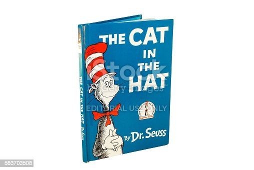 Hagerstown, MD, USA - March 6, 2015: Image of The Cat in the Hat by Dr. Seuss. Dr. Seuss is widely know for his children's books.