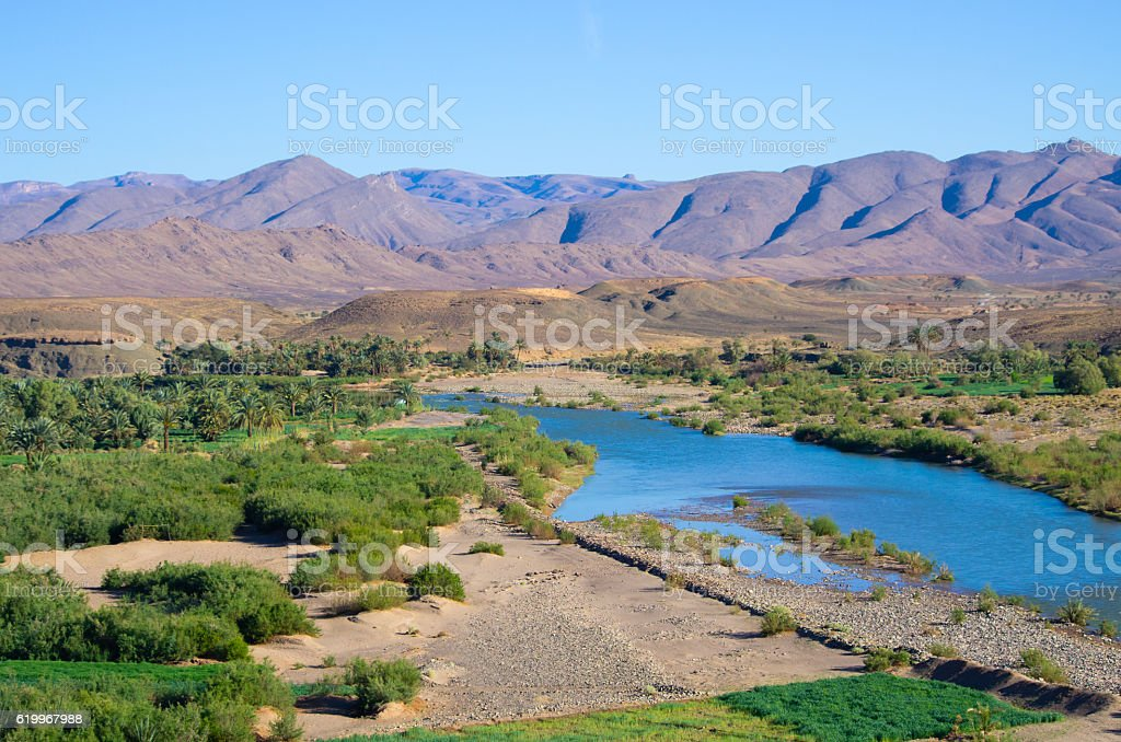 Draa river in Morocco stock photo