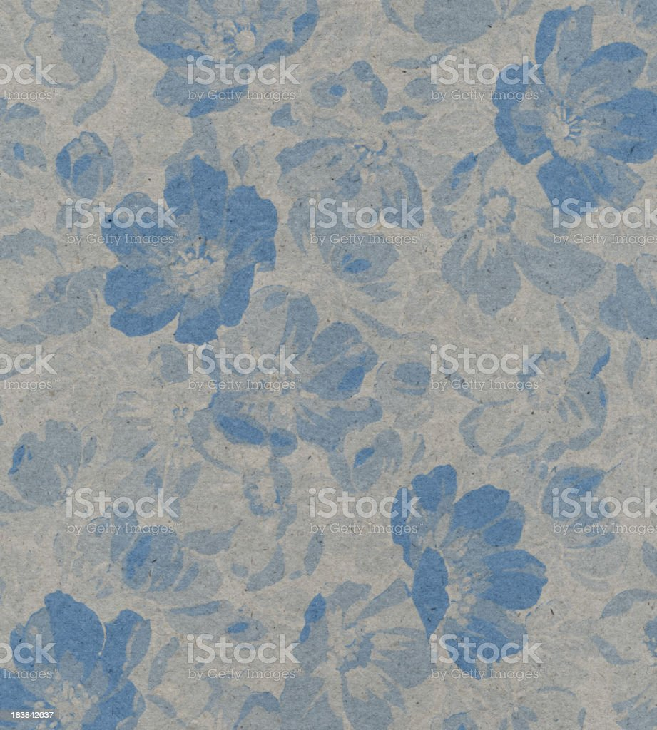 drab blue paper with floral pattern royalty-free stock photo
