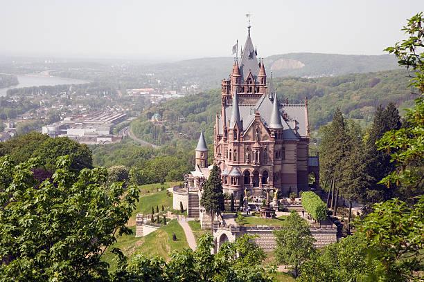 Drachenburg Palace on Dragon`s Hills stock photo