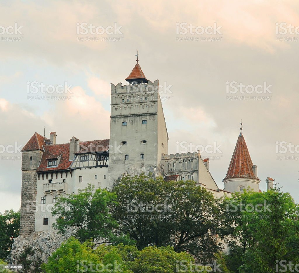 Dracula's Bran Castle at sunset stock photo