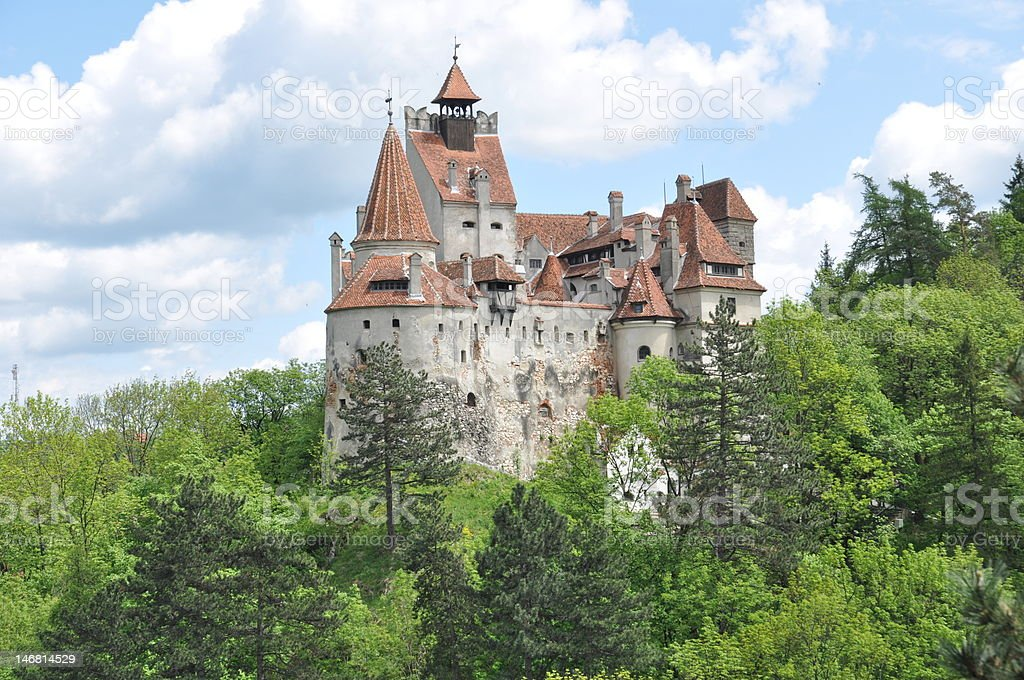 Dracula's Bran Castle view from the same level stock photo