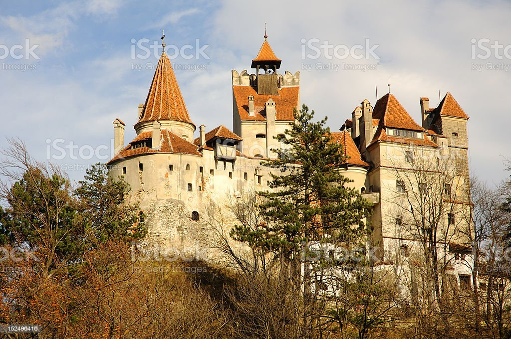 Dracula's Bran Castle viewed from left stock photo