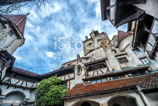 Bran, Romania - April 19, 2014: Bran Castle, also known as Dracula Castle. Its fame is created around Bram Stoker's character, Count Dracula, often identified as Vlad Tepes (Vlad the Impaler).