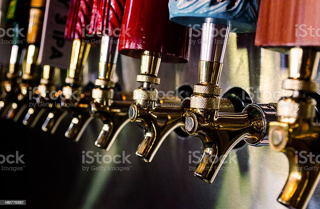 Draft Beer Taps stock photo