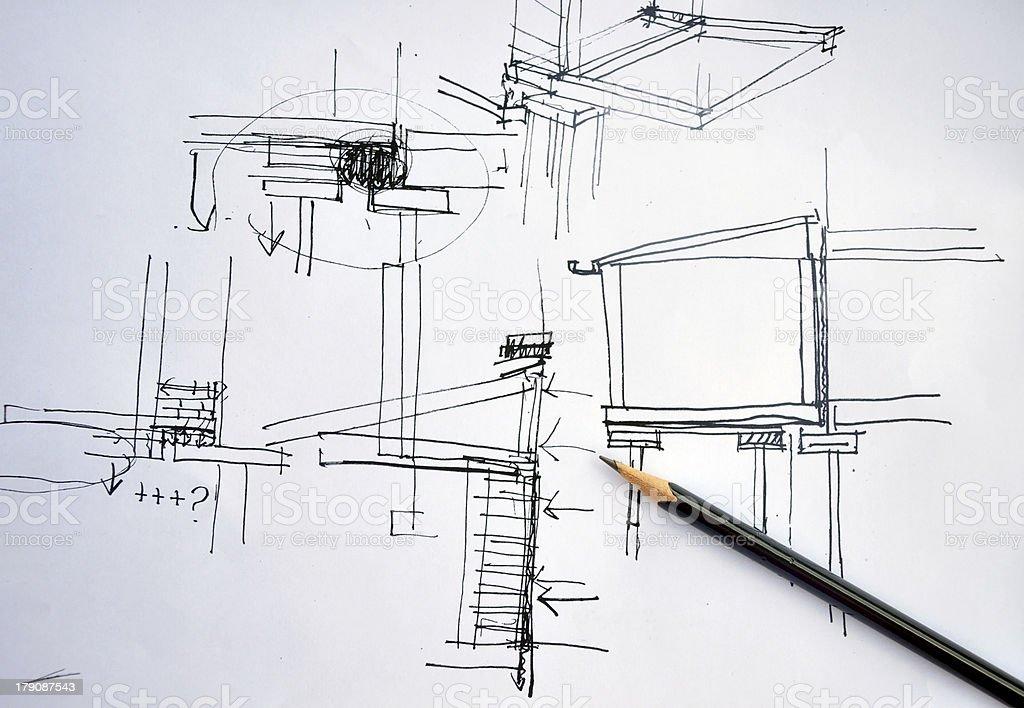 entwurf der hand zeichnung architektur plan mit stift. Black Bedroom Furniture Sets. Home Design Ideas