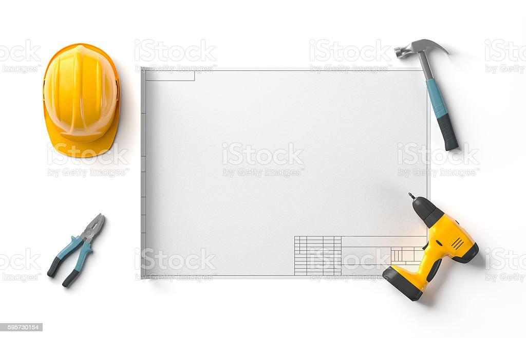 draft project, helmet and construction tools stock photo