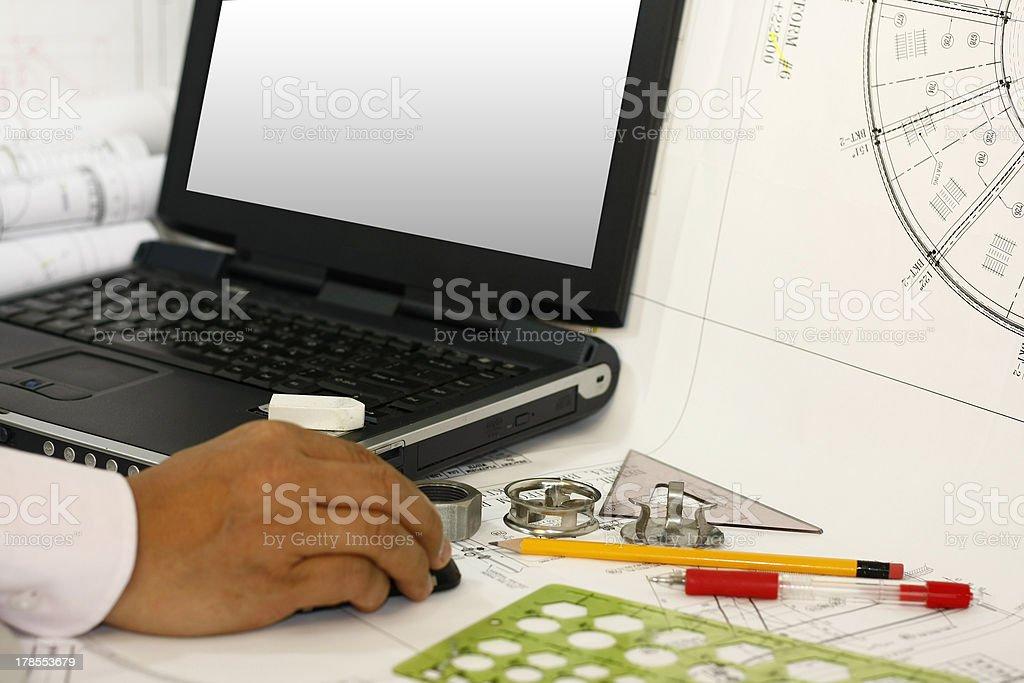 Drafting engineering works royalty-free stock photo