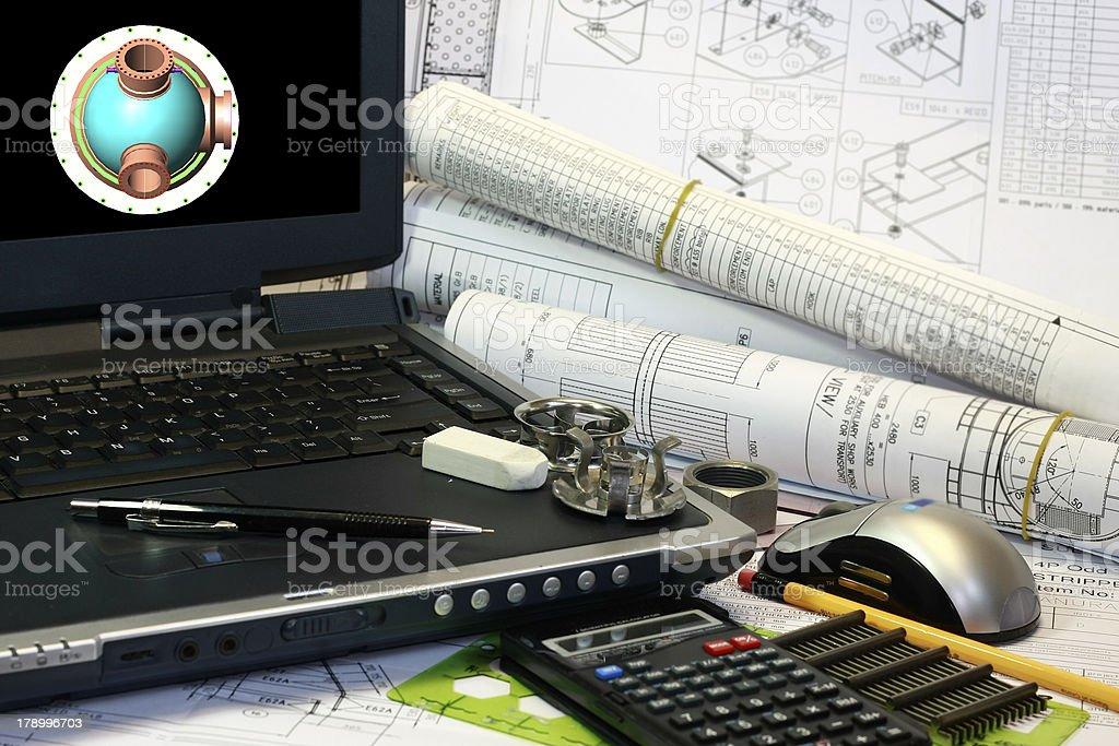 Drafting of Pressure Vessel stock photo