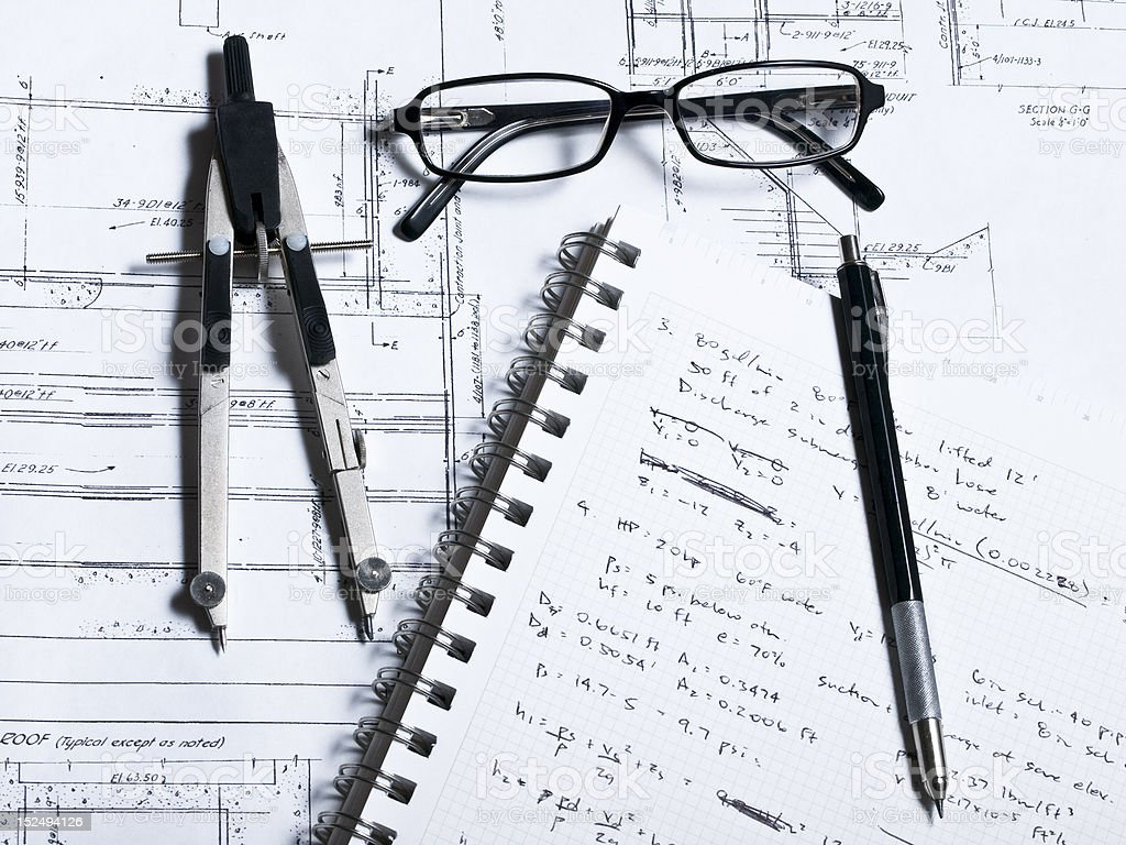 Drafting Plans 1 royalty-free stock photo