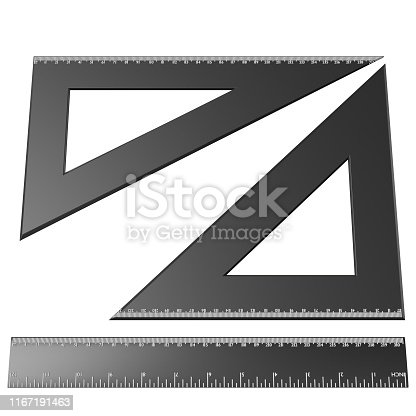 3D rendering illustration of a drafting ruler and squares set