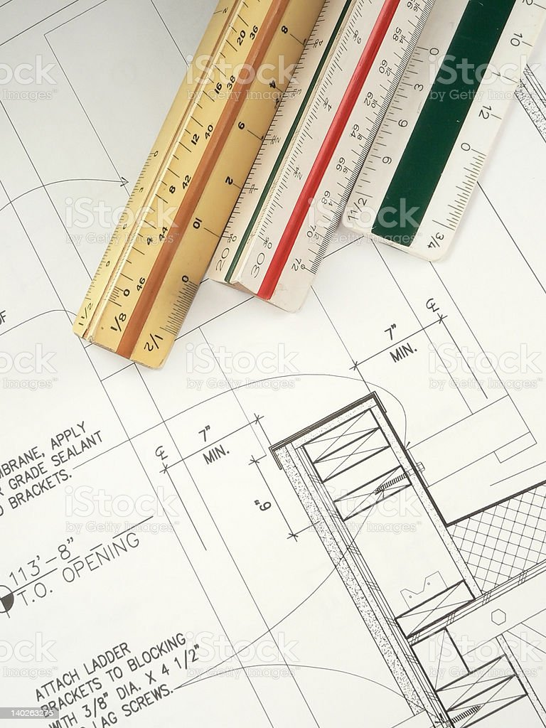 Drafting Scales and Blueprint royalty-free stock photo