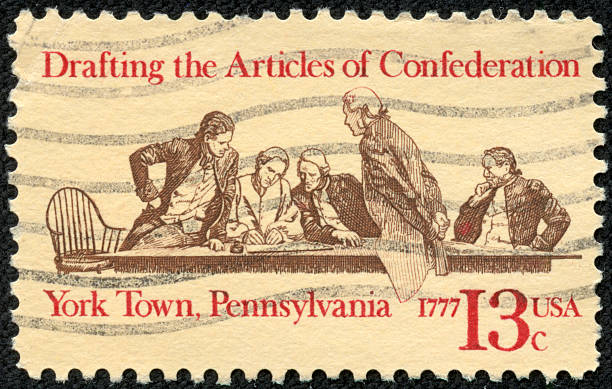 Drafting the Articles of Confederation stock photo