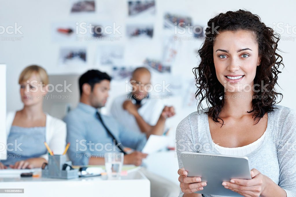 Drafting the month's layout on my tablet is so easy! royalty-free stock photo