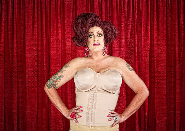 drag queen in corset - transvestite stock photos and pictures
