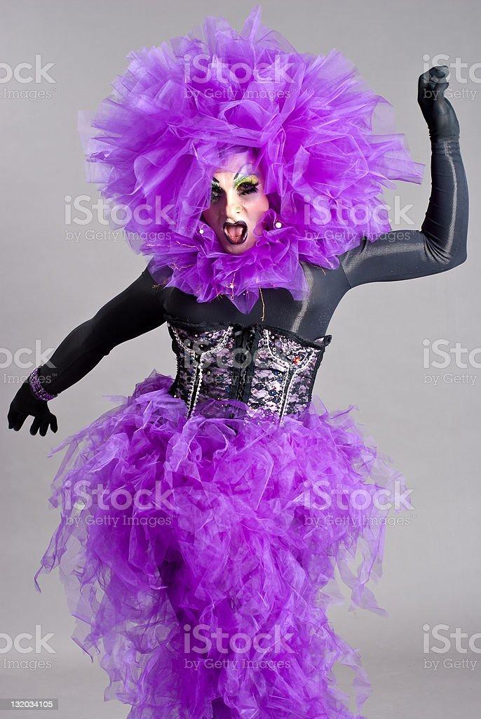 Drag Queen in violet dress stock photo