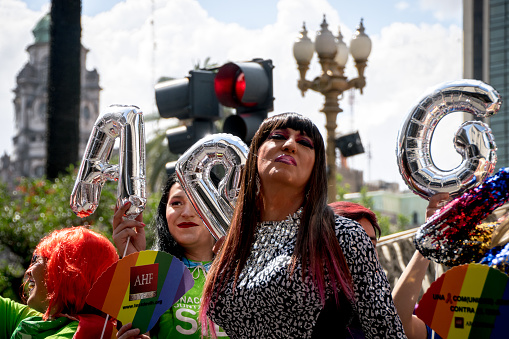 A drag queen poses at Buenos Aires' 26th Gay Pride Parade