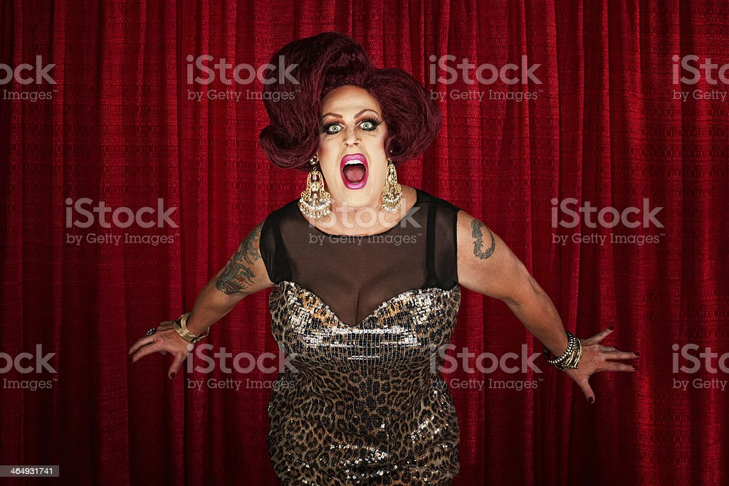 Drag Queen Screaming or Singing stock photo