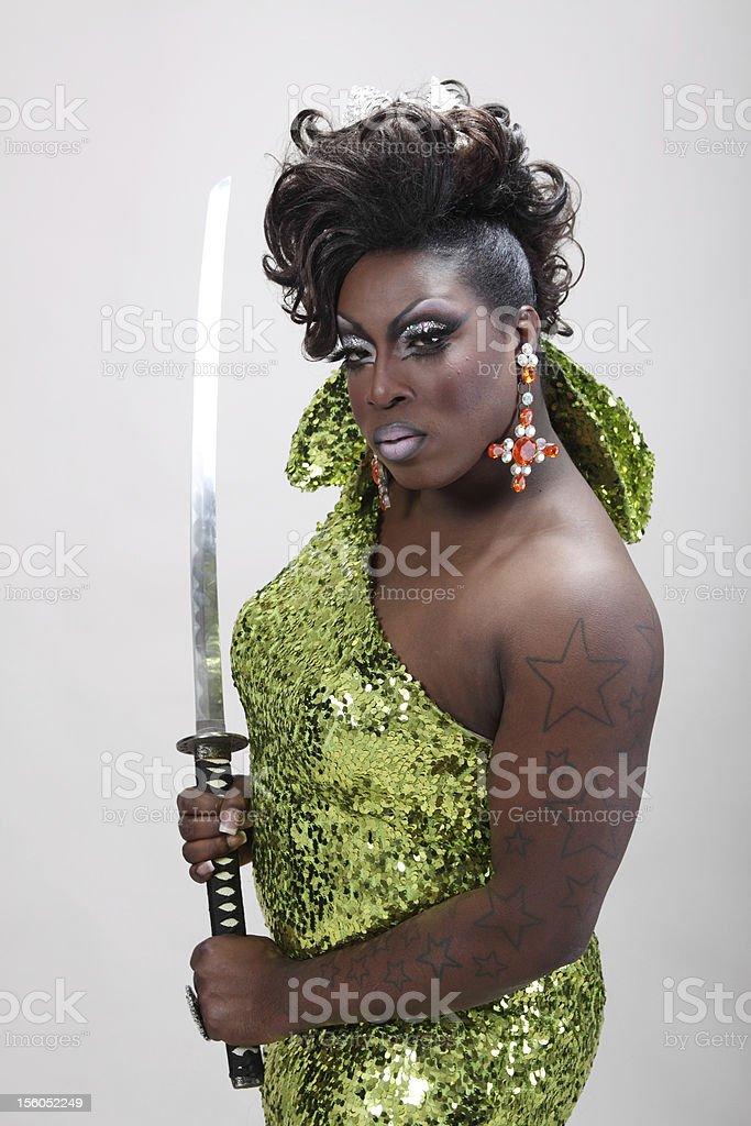Drag queen with samurai sword stock photo