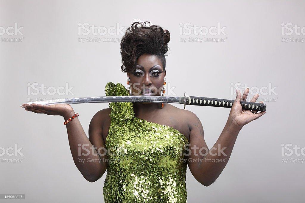 Drag queen with sword stock photo