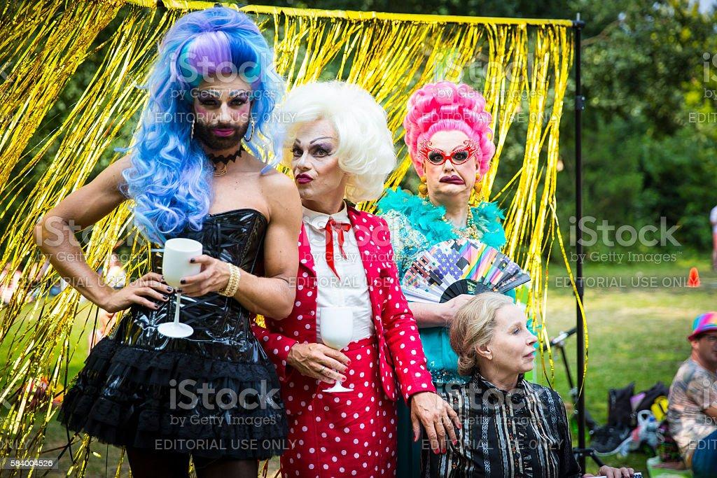Drag queens at Pink Saturday in Vondelpark Amsterdam stock photo