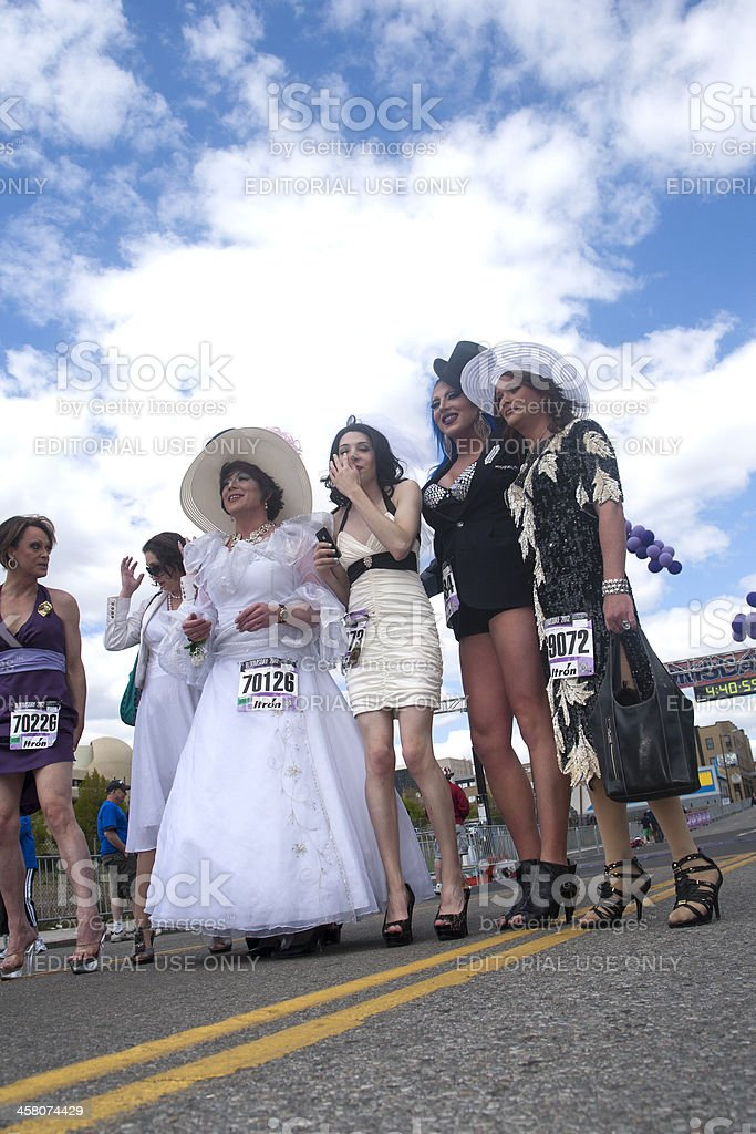 Drag queens on the road. stock photo