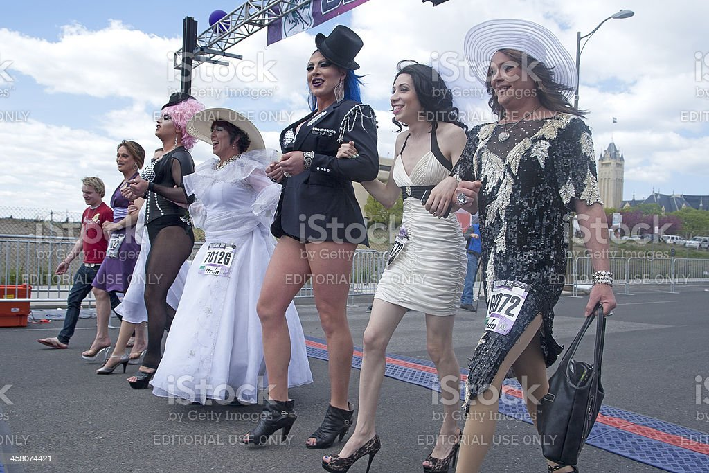 Drag queens parading. stock photo