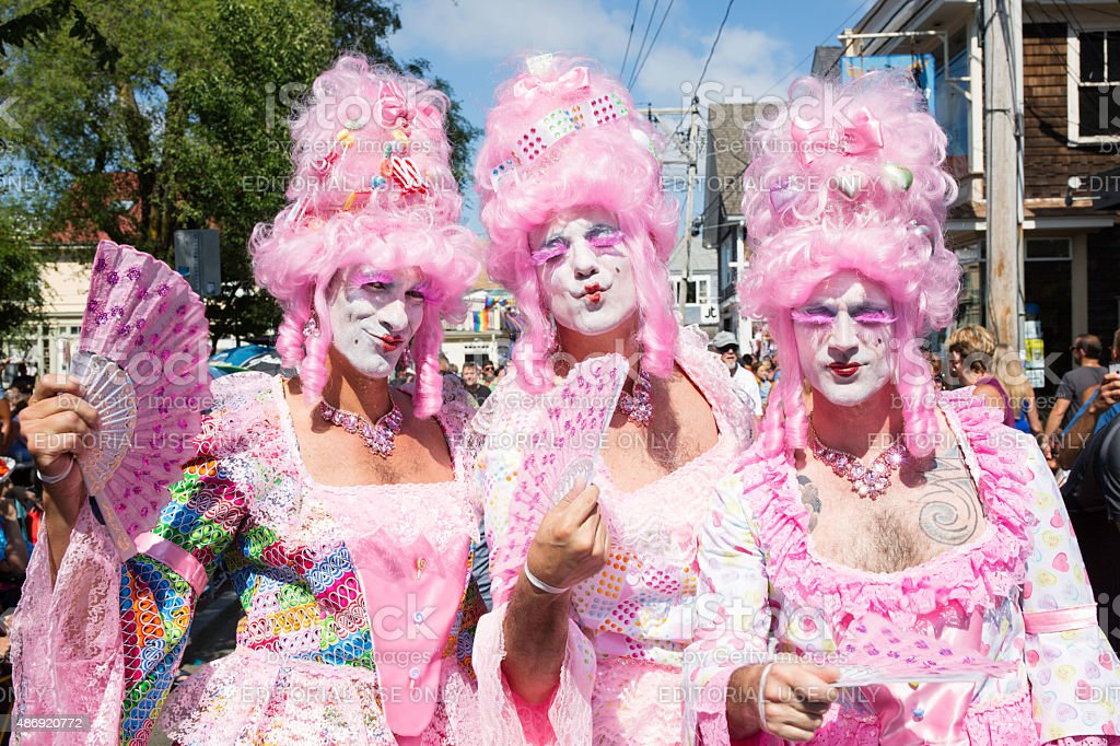 Drag queens walking in the Provincetown Carnival Parade stock photo