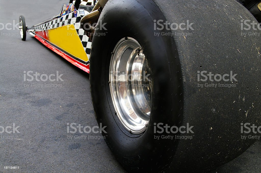 Drag race car on road getting ready stock photo