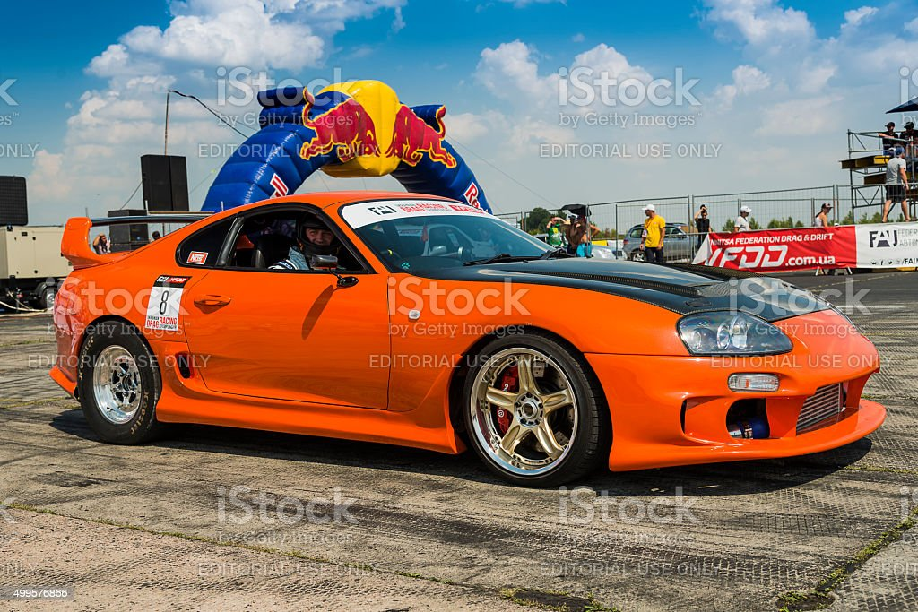 Drag Racing Car Brand Toyota Supra Prepares For The Races Stock ...
