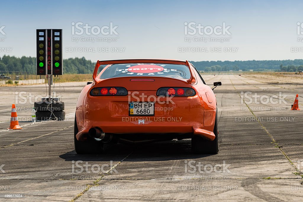 Drag racing car brand Toyota Supra prepares  for the races stock photo