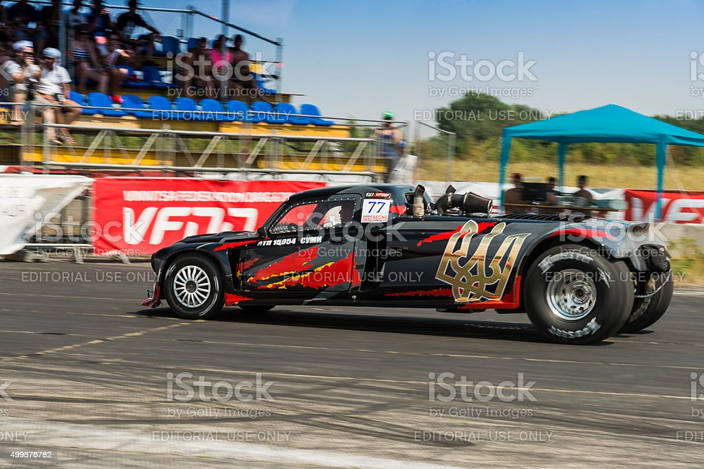 Drag racing car  during the races stock photo
