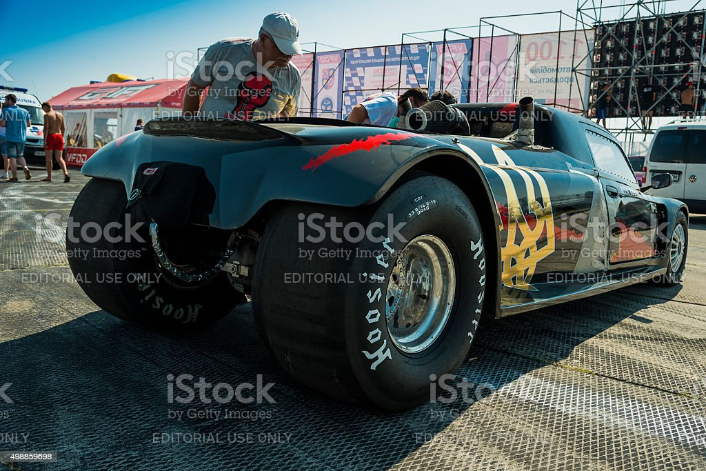 Drag racing car ready for the races stock photo