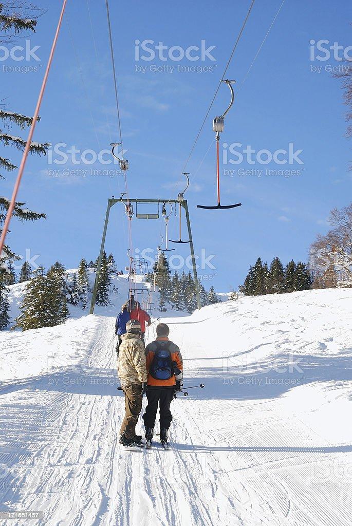 dragging ski lift stock photo