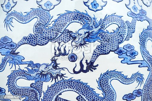 istock Dragon. A beautiful dragon pattern on a Chinese water jar. This is a common pattern and massively produced in Thailand and China. 1216986287