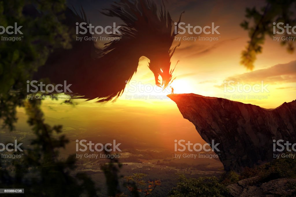 Dragon and man stock photo