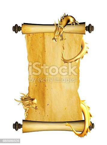 istock Dragon and scroll of old parchment 685986526
