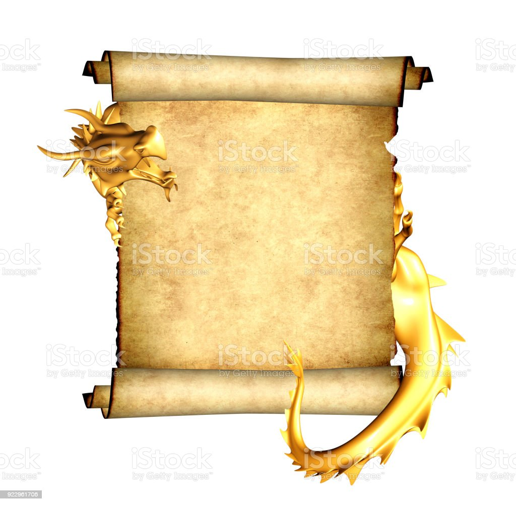 Dragon and scroll of old parchment stock photo